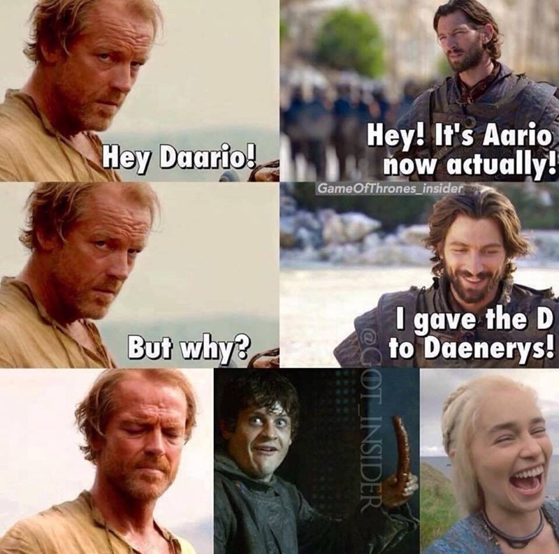 Game of Thrones shitpost about Daario sleeping with Danny