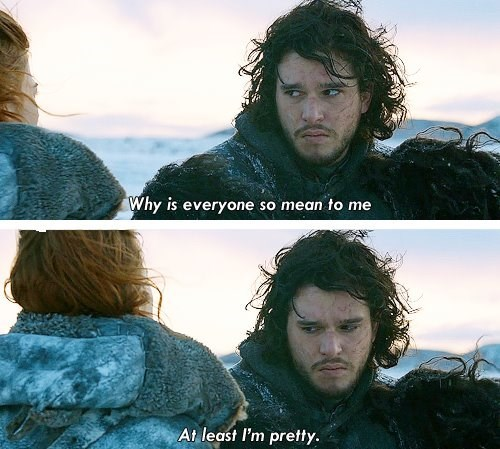 Game of Thrones shitpost with a pouty Jon Snow