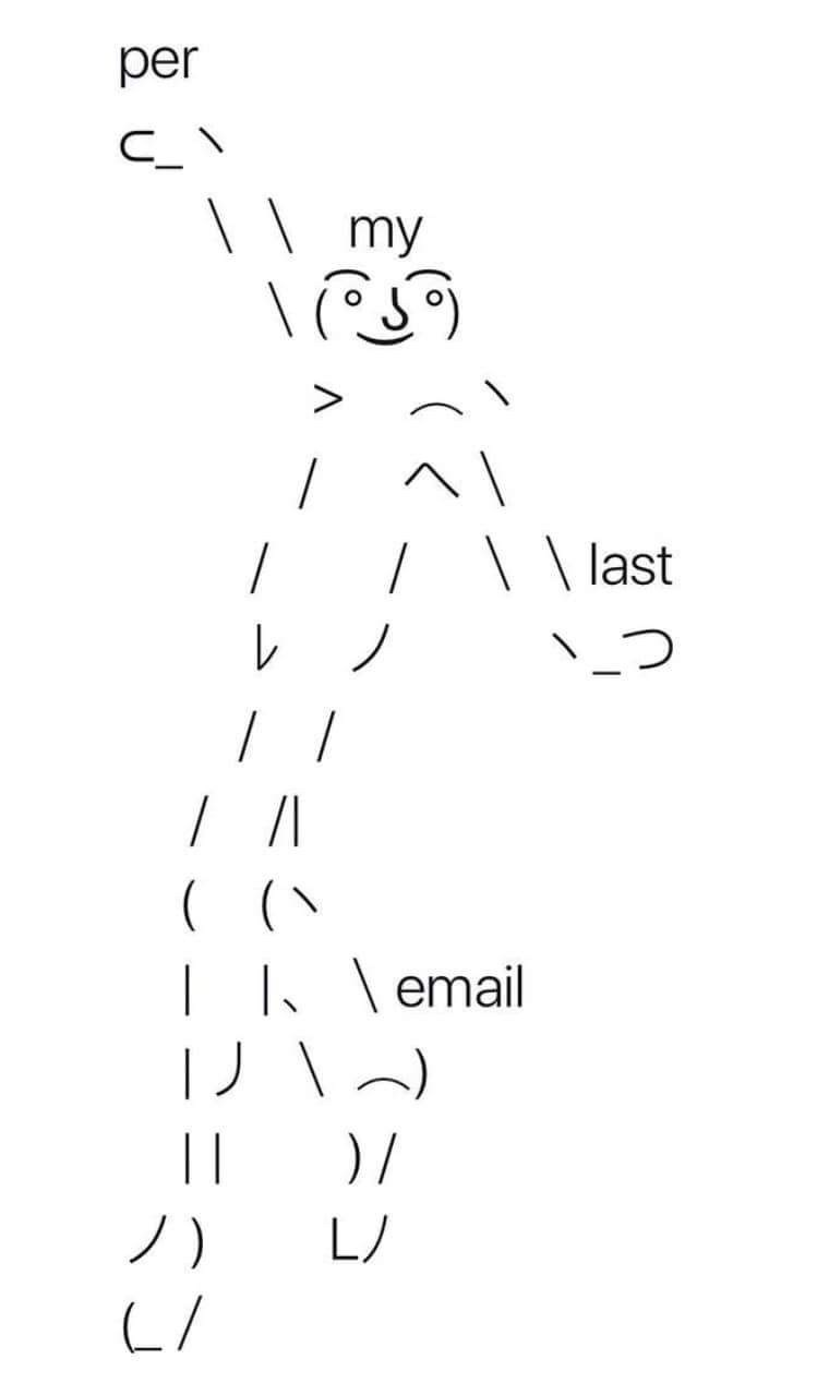 monday meme with the dancing ascii man starting an email