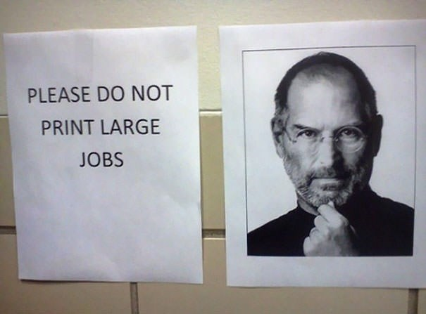monday meme with a large pic of Steve Jobs next to a sign