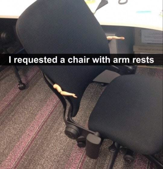 monday meme with a chair that has doll arms attached to it