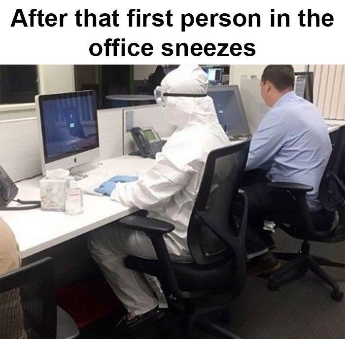 monday meme about wearing a hazmat suit in the office