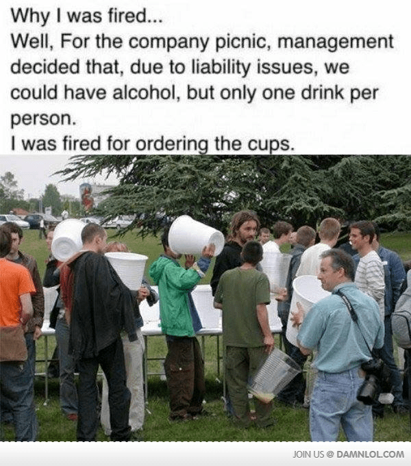 monday meme about getting drunk at a company picnic