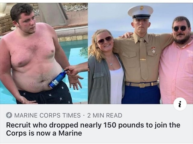 Barechested - BU i Recruit who dropped nearly 150 pounds to join the Corps is nowa Marine MARINE CORPS TIMES 2 MIN READ