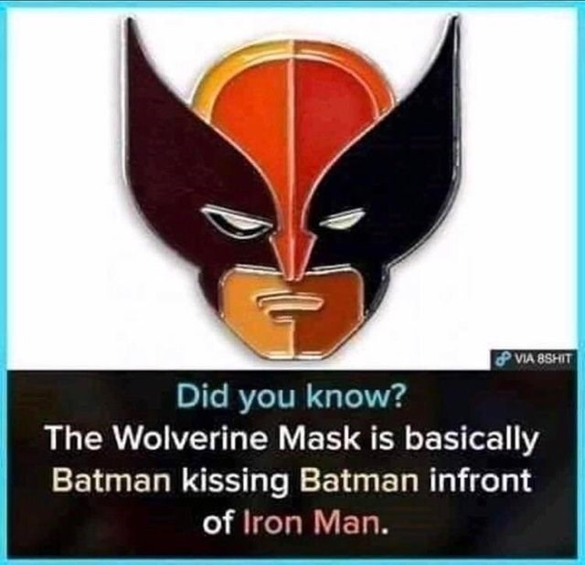 Fictional character - & VIA 8SHIT Did you know? The Wolverine Mask is basically Batman kissing Batman infront of Iron Man.