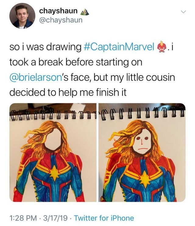 Text - chayshaun @chayshaun so i was drawing #CaptainMarvel took a break before starting on @brielarson's face, but my little cousin decided to help me finish it ยปี มวา 1:28 PM 3/17/19 Twitter for iPhone