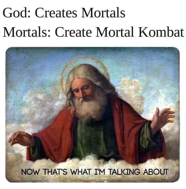monday meme about god creating humans for video games