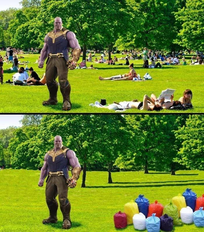 monday meme about Thanos doing the trashtag challenge