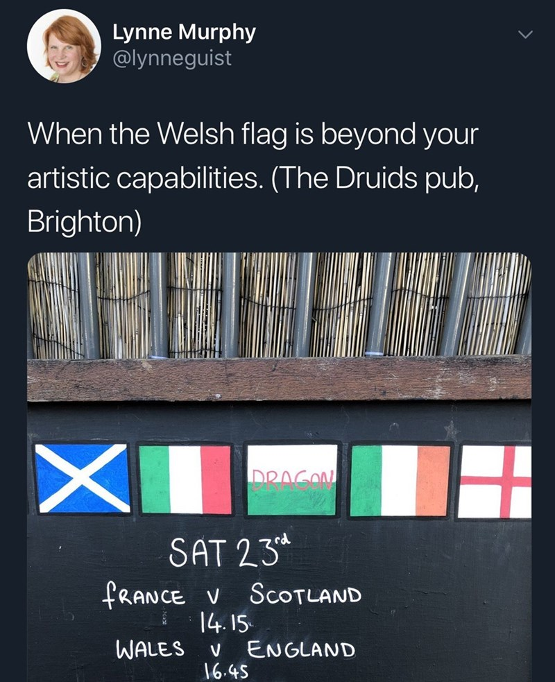 monday meme about the Welsh flag being too complicated to draw