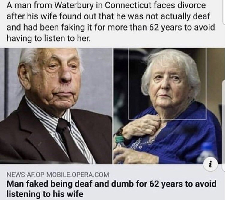 monday meme about husband pretending to be deaf