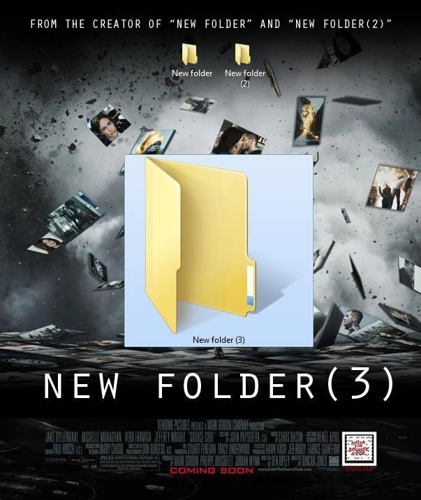 monday meme of a movie poster for a thriller about new folders on your desktop