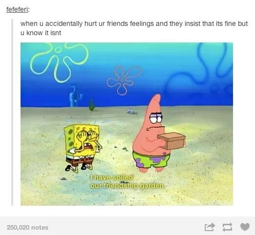 spongebob meme about hurting your friend