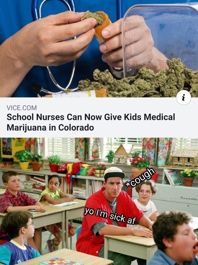 monday meme about pretending to be a child to get marijuana