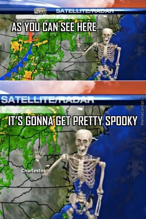 dumb meme about a skeleton weatherman