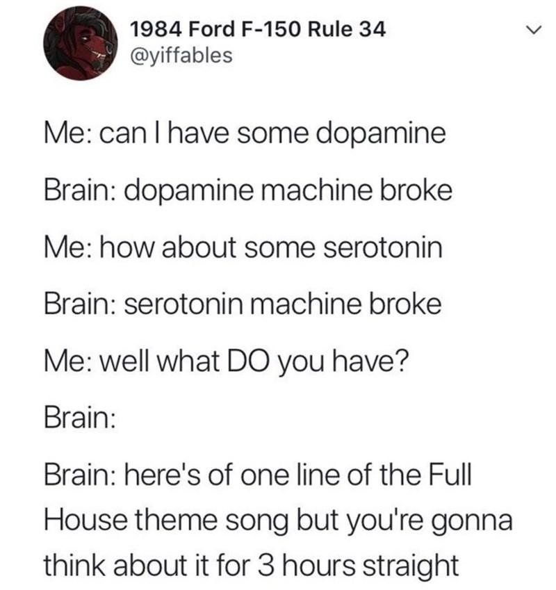 dumb meme about the brain being broken