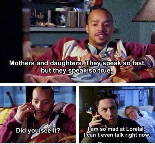 dumb meme about JD and Turk from Scrubs watching Gilmore Girls