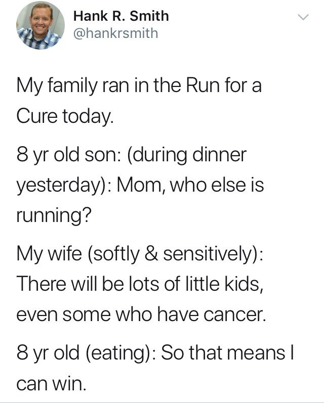 dumb meme about a kid outrunning sick kids