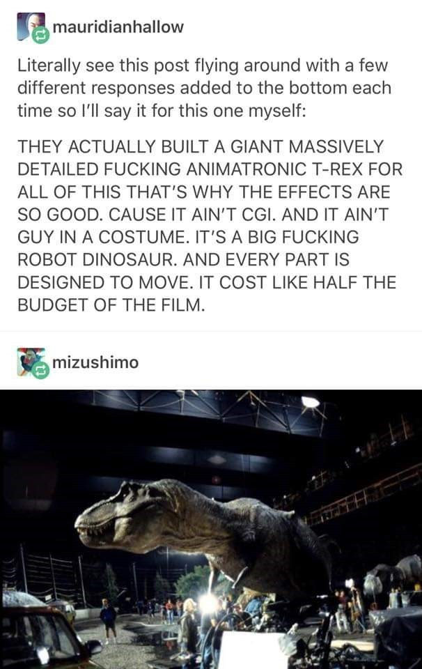 Adaptation - mauridianhallow Literally see this post flying around with a few different responses added to the bottom each time so I'll say it for this one myself: THEY ACTUALLY BUILT A GIANT MASSIVELY DETAILED FUCKING ANIMATRONIC T-REX FOR ALL OF THIS THAT'S WHY THE EFFECTS ARE sO GOOD. CAUSE IT AIN'T CGI. AND IT AIN'T GUY IN A COSTUME. IT'S A BIG FUCKING ROBOT DINOSAUR. AND EVERY PART IS DESIGNED TO MOVE. IT COST LIKE HALF THE BUDGET OF THE FILM. mizushimo