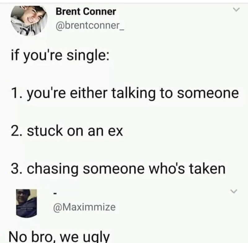 relatable meme about being single because you're ugly