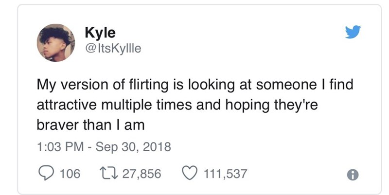 relatable meme about flirting by staring