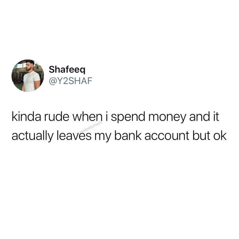 relatable meme about spending money