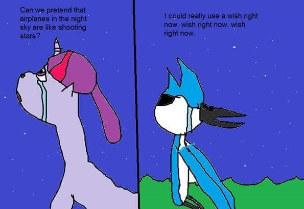 cringey meme with ms painting of Mordecai from Regular Show with lyrics with Airplanes lyrics
