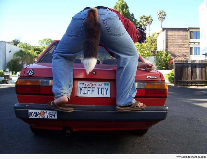 """cringeworthy meme with person with fox tail crouching above car plate that spells """"yiff toy"""""""