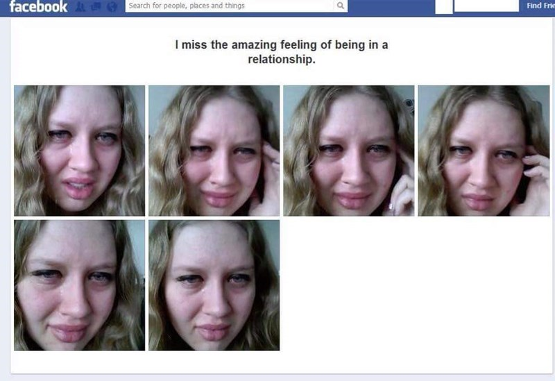 cringey meme with woman posting pics of herself crying