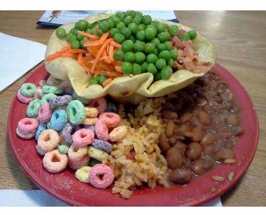cringey meme of food plate with beans rice and dry fruit loops