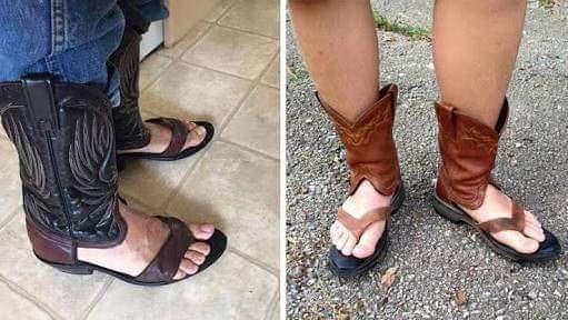 cringey meme about redneck boot sandals