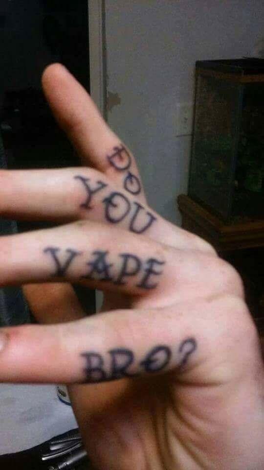 cringey meme with vaping tattoo
