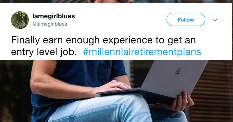 Twitter users poke fun at millennials for how they're planning for retirement.