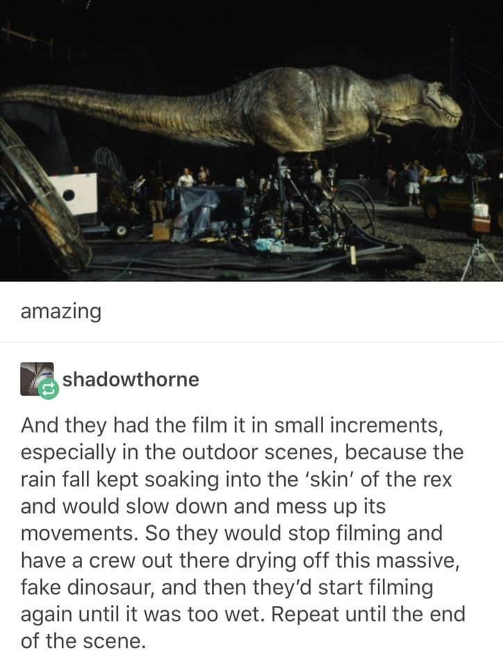 Auto part - amazing shadowthorne And they had the film it in small increments, especially in the outdoor scenes, because the rain fall kept soaking into the 'skin' of the rex and would slow down and mess up its movements. So they would stop filming and have a crew out there drying off this massive, fake dinosaur, and then they'd start filming again until it was too wet. Repeat until the end of the scene.