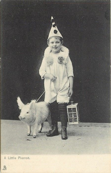vintage kids and pets - Canidae - A Little Pierrot.