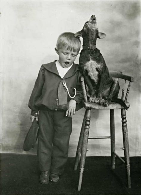 vintage kids and pets - Photograph
