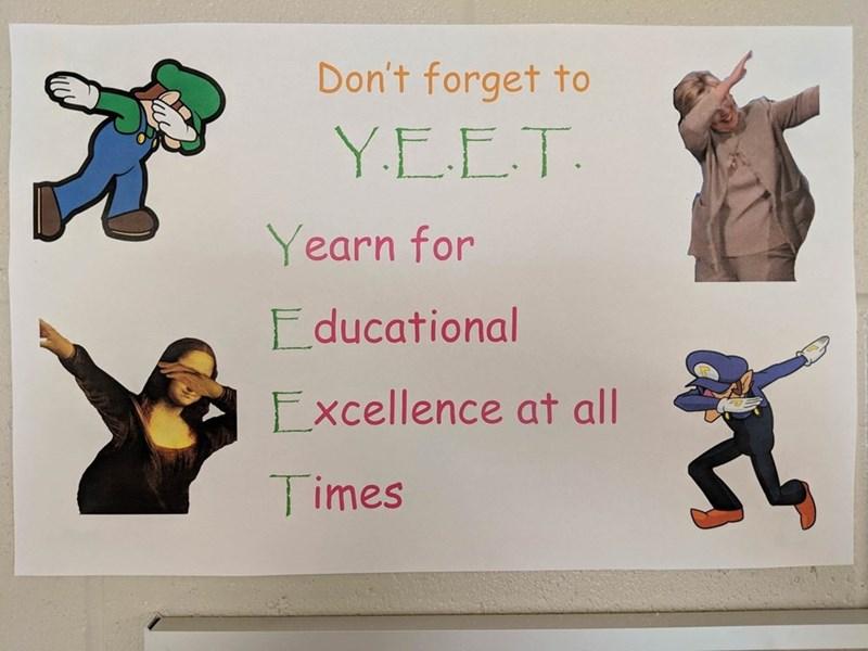 Funny meme about walugi, mario, yeet, education, school