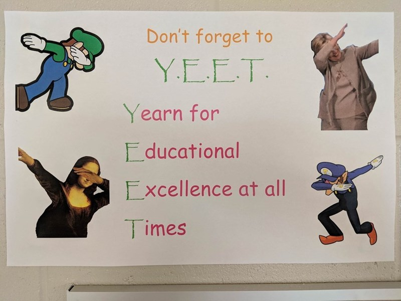 Funny meme about walugi, mario, yeet, education, school