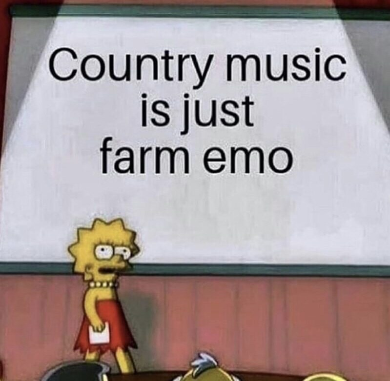 country music meme - Cartoon - Country music is just farm emo