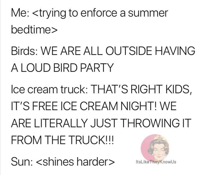 parenting meme about trying to put your kids to sleep during the summer
