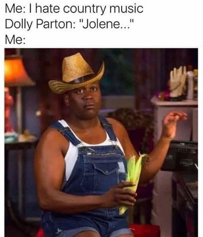 """country music meme - Cowboy hat - Me: I hate country music Dolly Parton: """"Jolene..."""" Me:"""
