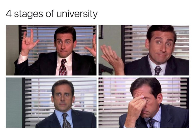 college meme about the stages of university with Michael Scott