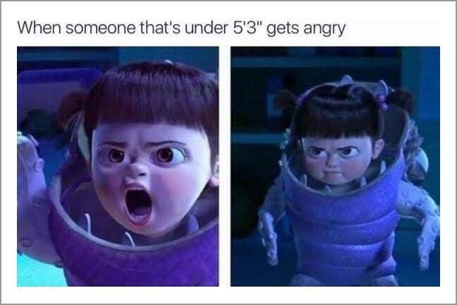 shitpost about angry short people with Boo from Monsters Inc