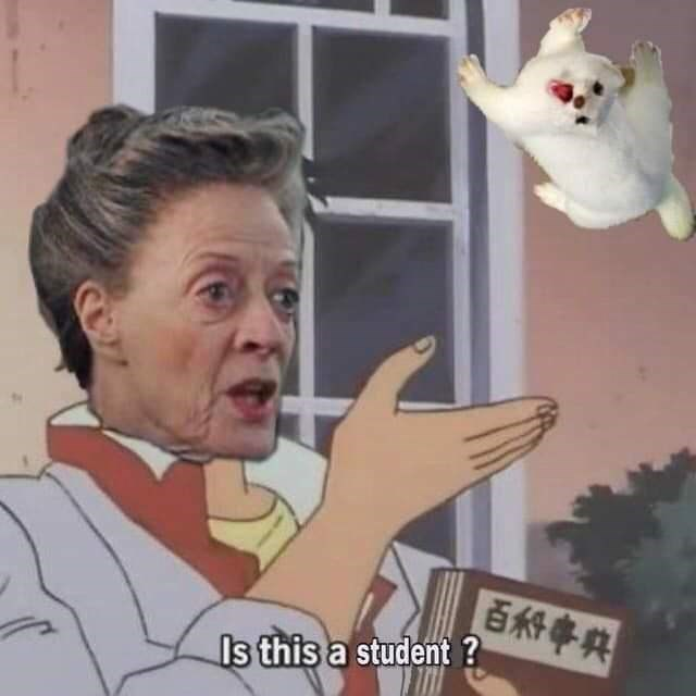 "shitpost in the ""is this a pigeon"" meme format of professor McGonagall thinking a ferret is a student"