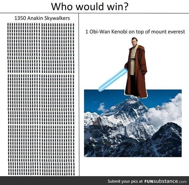 shitpost about Obi Wan beating Anakin because he has the higher ground