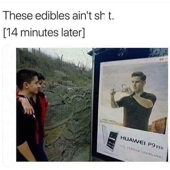 shitpost about when the edibles kick in with pic of guys posing in front of a phone ad
