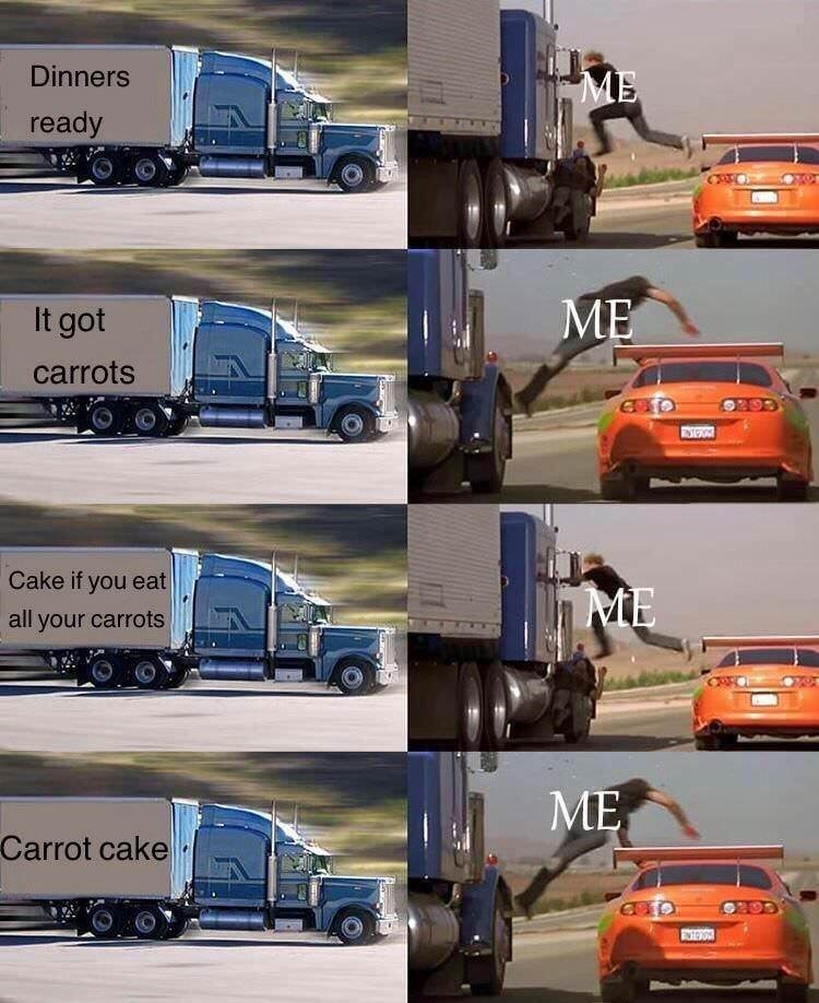 shitpost about hating carrots with pics of a guy jumping from a car to a truck