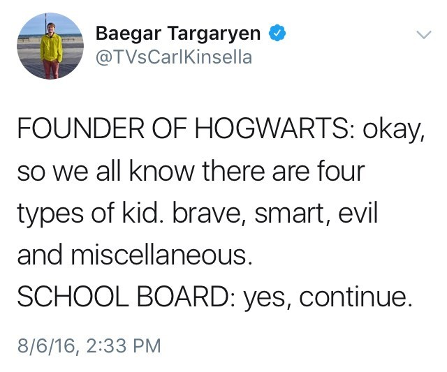 shitpost about the Hogwarts houses