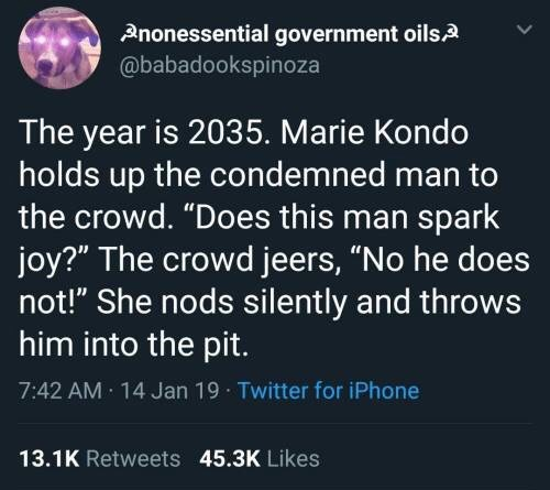 shitpost about a future rules by Marie Kondo