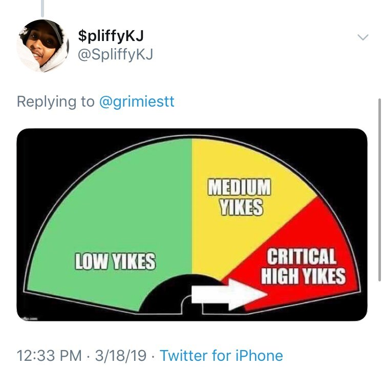 Line - $pliffyKJ @SpliffyKJ Replying to @grimiestt MEDIUM YIKES CRITICAL HIGH YIKES LOW YIKES 12:33 PM 3/18/19 Twitter for iPhone