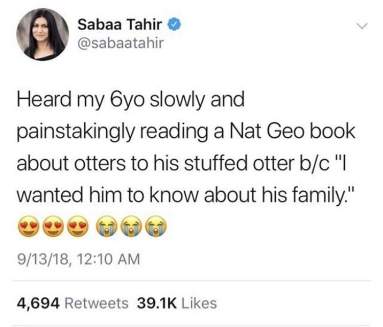 "Tweet that reads, ""Heard my six-year-old slowly and painstakingly reading a Nat Geo book about otters to his stuffed otter because 'I wanted him to know about his family'"""